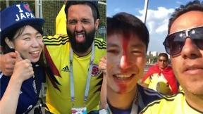 Hinchas colombianos con japoneses