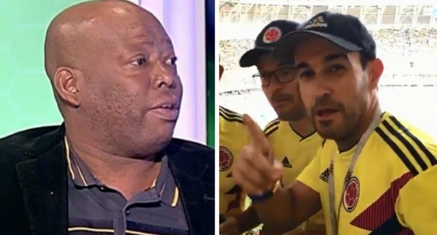 Tino Asprilla e hinchas colombianos en el Mundial