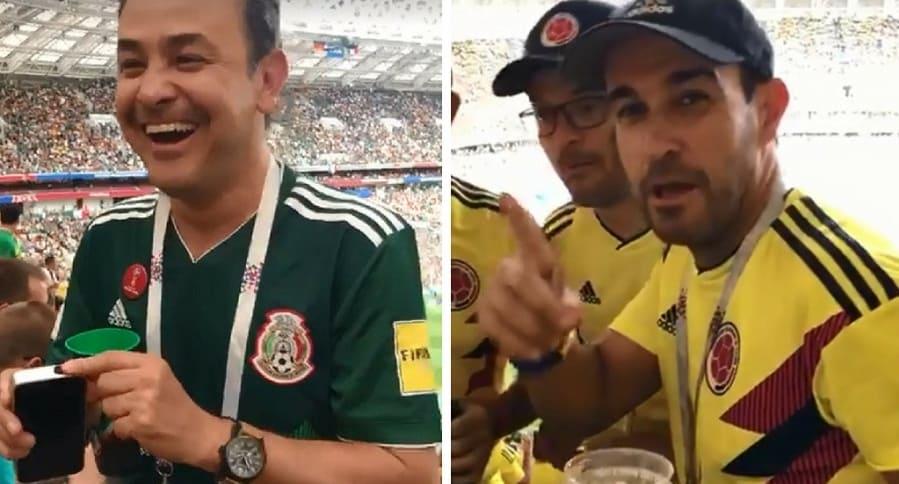 Hincha mexicano con trago en el estadio