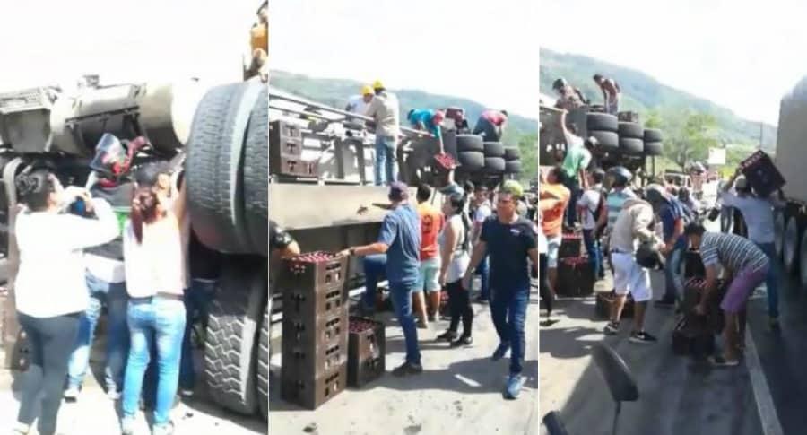 Saqueo a camión en Bucaramanga