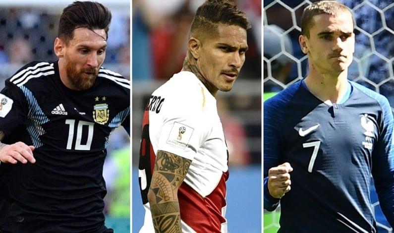 Lionel Messi, Paolo Guerrero y Antoine Griezmann