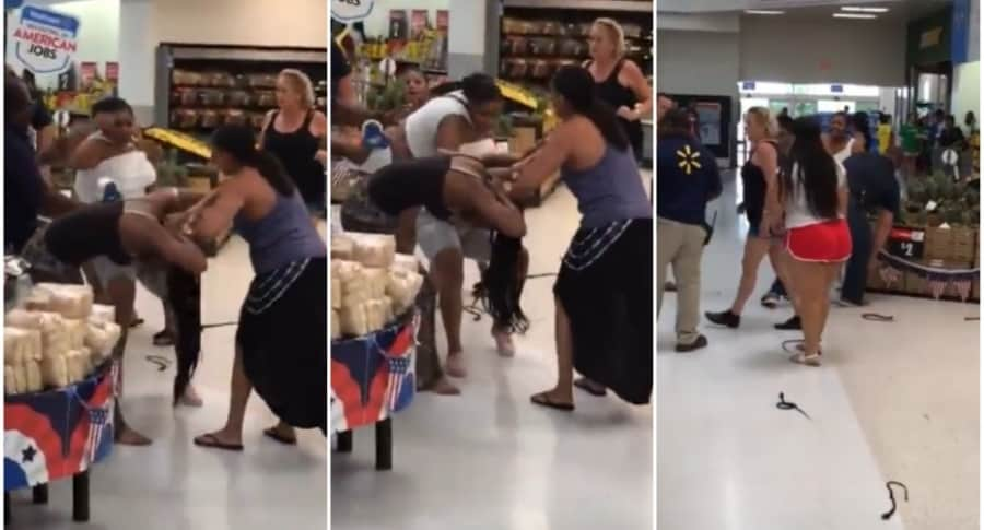Mujeres pelean en supermercado.
