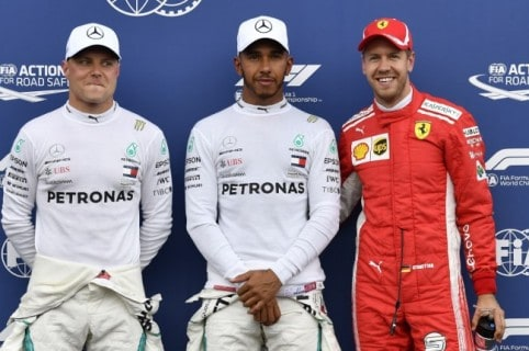 Valtteri Bottas, Lewis Hamilton y  Sebastián Vettel