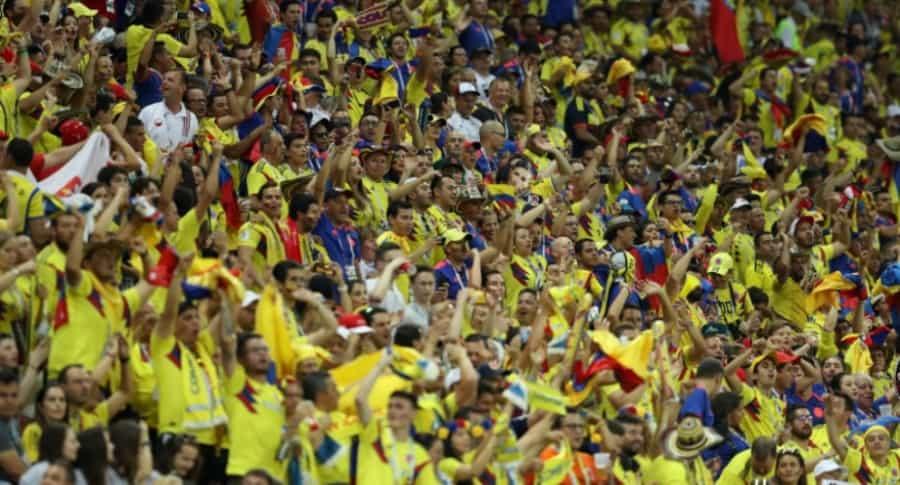 Hinchas colombianos en Rusia.