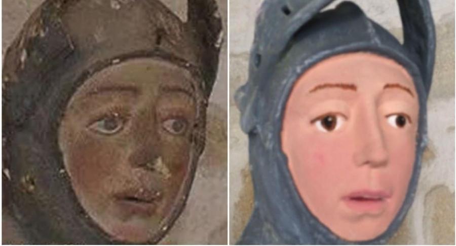 Escultura del siglo XVI arruinada.