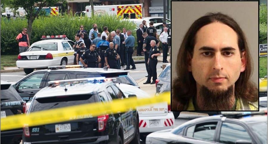 Lugar del tiroteo y Jarrod Ramos en el recuadro