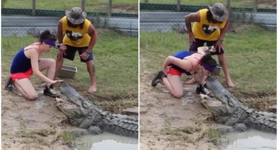Mujer besa a cocodrilo.