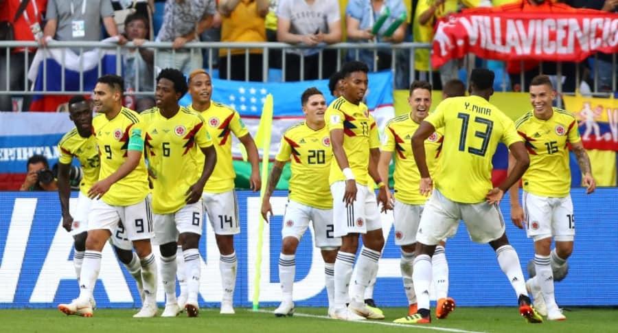 Colombia celebra el gol contra Senegal