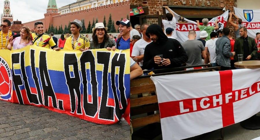 Aficionados colombianos e ingleses