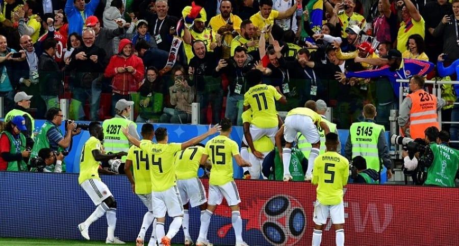 Selección Colombia celebrando el gol de Yerry Mina