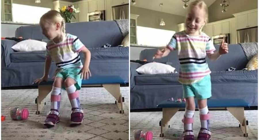 Niña con parálisis cerebral camina.