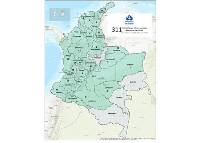 Mapa asesinatos líderes sociales