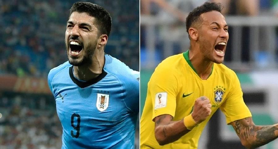 Luis Suárez (Uruguay) y Neymar (Brasil)