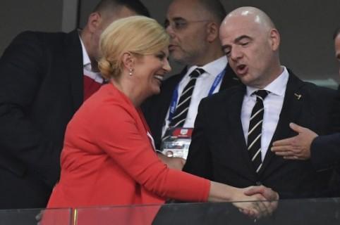 Presidenta bde la Croacia, presidente de la Fifa Y PRIMER MINISTRO DE rUSIA