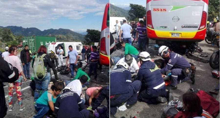 accidente vía Bogotá - La Vega