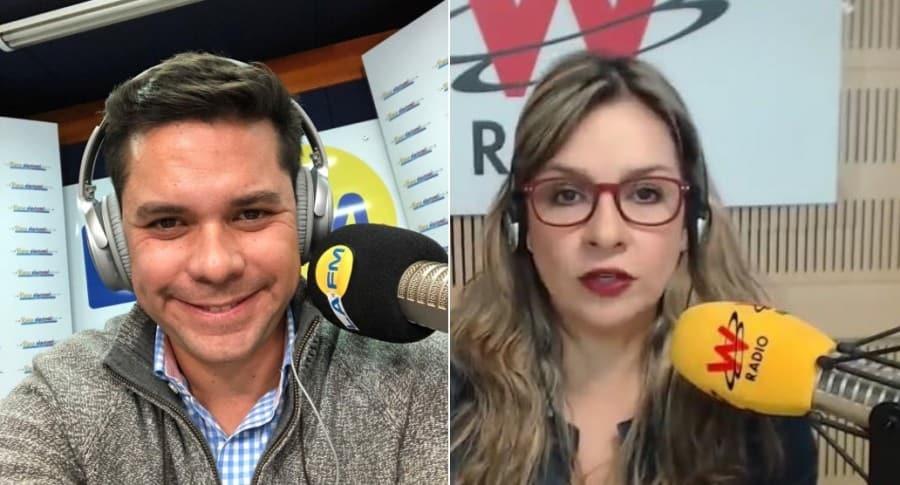 Luis Carlos Vélez y Vicky Dávila, periodistas.