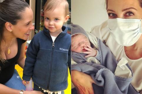 Laura Acuña, presentadora, con su hija Helena. Y Liza Acuña con su sobrino Nicolás.