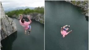 Hombre salta a un pozo.