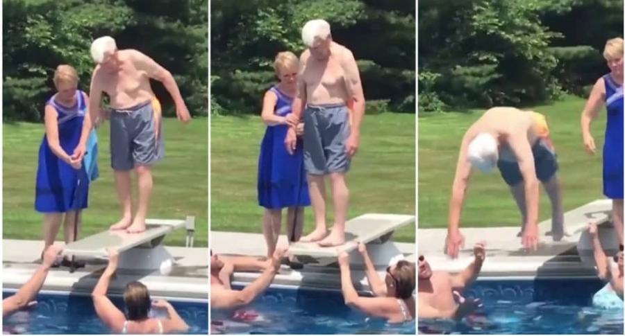 Abuelo hace clavado en una piscina.