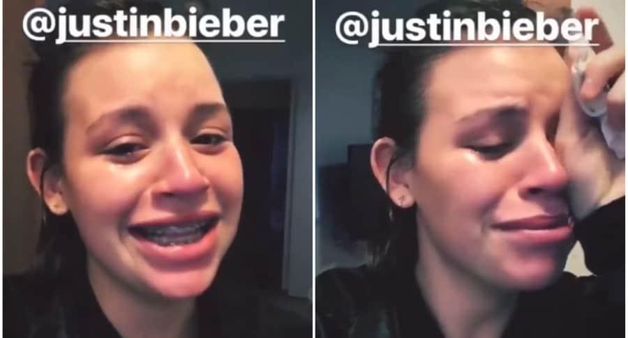 Joven llora por Justin Bieber.