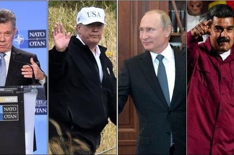 Juan Manuel Santos, Donald Trump, Vladimir Putin y Nicolás Maduro