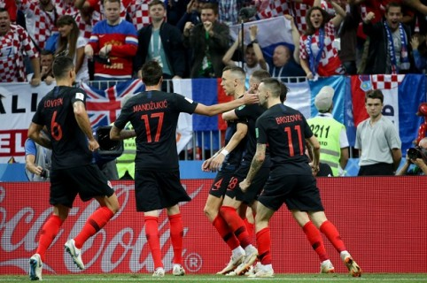 Celebración del gol de Perisic contra Inglaterra