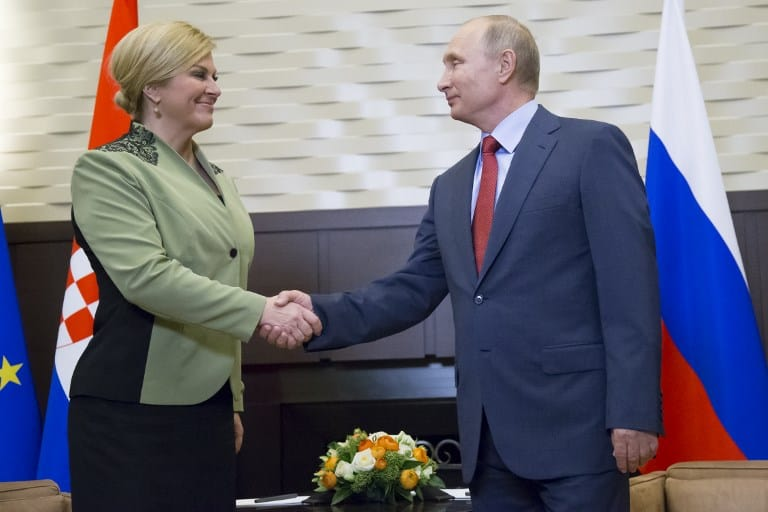 Presidenta de Croacia y Vladimir Putin, presidente de Rusia.