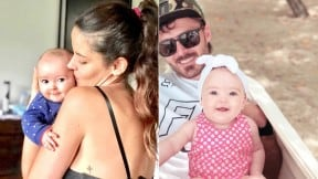 'Maleja' Restrepo y 'Tatán' Mejía con su hija Macarena.
