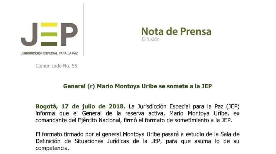 Comunicado JEP general (r) Mario Montoya