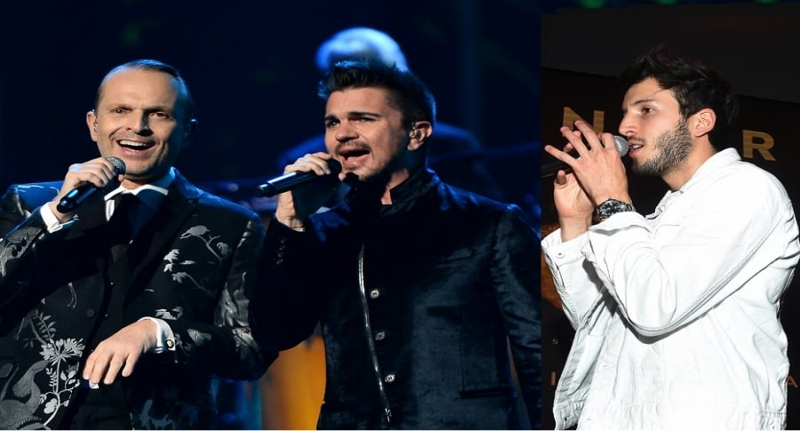 Miguel Bosé, Juanes y Sebastián Yatra, cantantes.