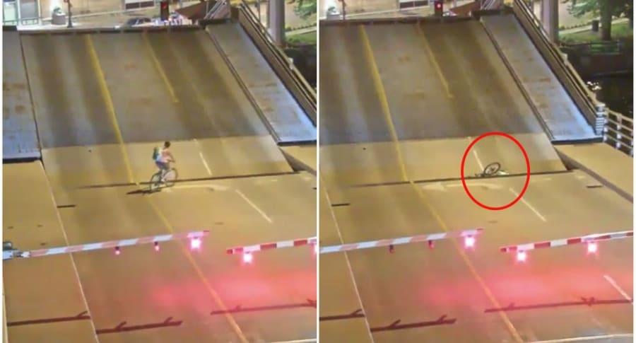Ciclista queda atrapada en puente levadizo.
