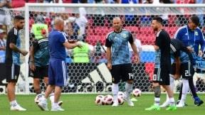 Lionel Messi Javier Mascherano y Jorge Sampaoli.