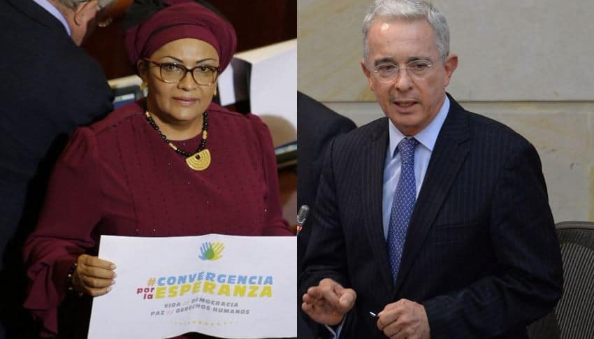 Victoria Sandino y Álvaro Uribe