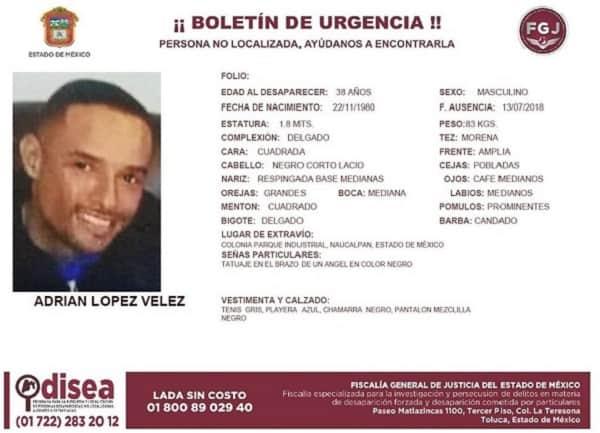 Boletín desaparición Adrián López