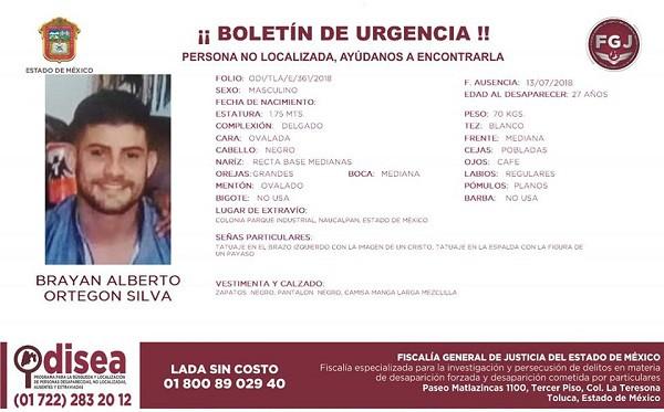 Boletín desaparición Brian Ortegón