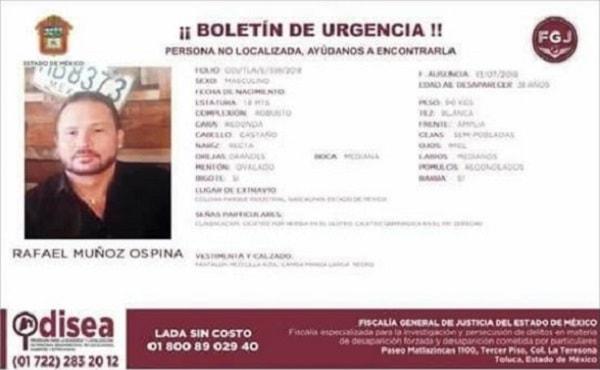 Boletín desaparición Rafael Muñoz