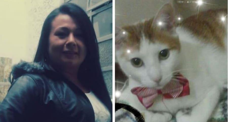 Luz Dary Malagón, fallecida, y su gato Coco