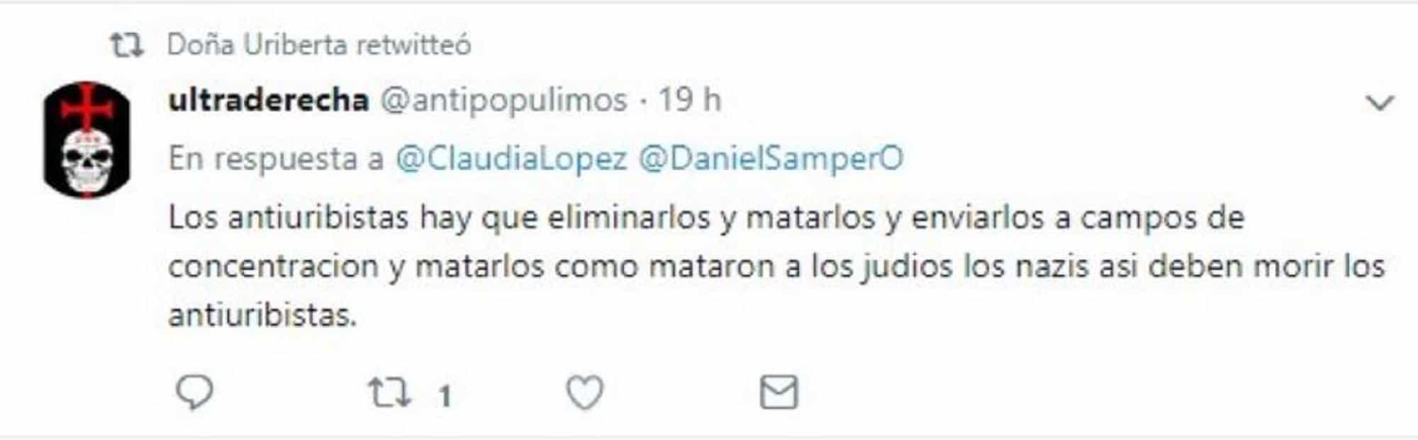 Amenaza a Daniel Samper y Claudia López