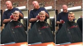 Broma de peluquero a niño.