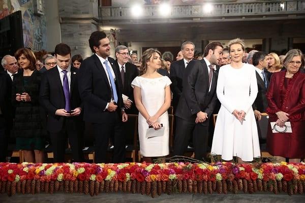Familia presidencial en ceremonia del Nobel de la Paz