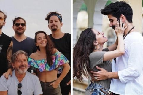 Ricardo Montaner con su hijos, y Camilo Echeverry con su prometida Evaluna Montaner.