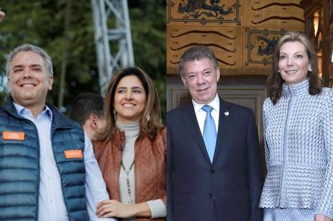 Iván Duque y María Juliana Ruíz, Juan Manuel Santos y María Clemencia de Santos