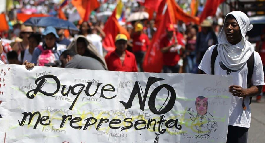 Manifestación contra investidura de Iván Duque