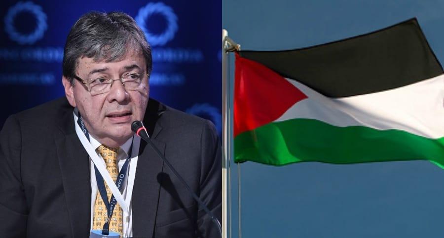 Carlos Holmes Trujillo y bandera de Palestina
