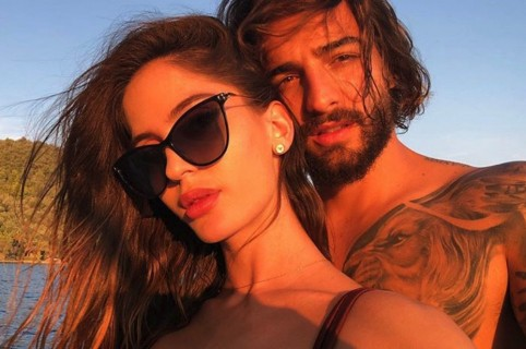 Maluma y su novia.