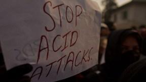 Manifestación contra los ataques con ácido