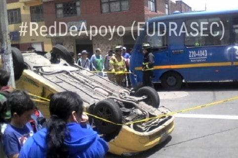 Accidente entre bus del SITP y taxi, en el sur de Bogotá