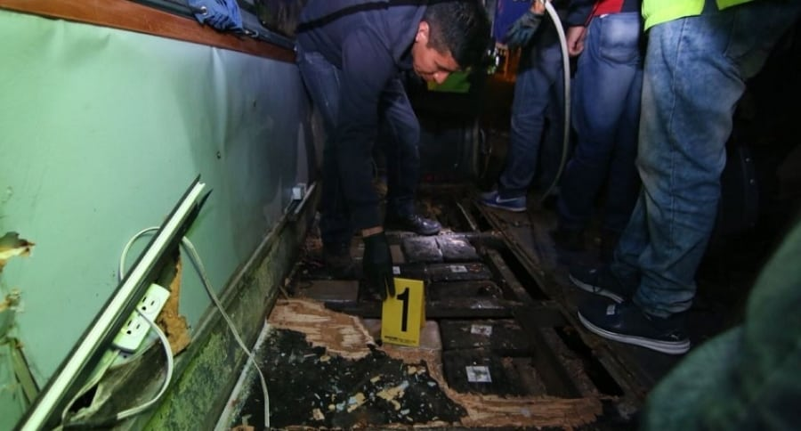Hallazgo de la droga en bus accidentado