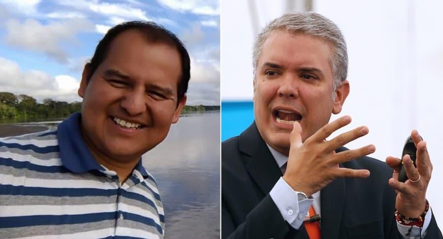 Mauricio Orjuela, periodista, e Iván Duque, presidente de Colombia.