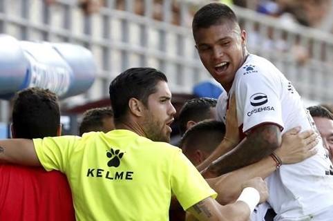 Juan Camilo 'Cucho' Hernández, celebrando el triunfo de su equipo.